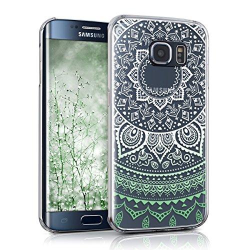 kwmobile Cover Compatibile con Samsung Galaxy S6 Edge - Custodia Rigida Trasparente per Cellulare - Back Case Cristallo in plastica - Sole Indiano Menta/Bianco/Trasparente