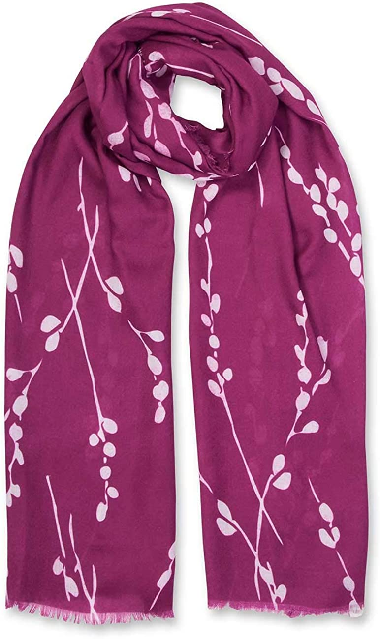 Katie Loxton Winter Berry Print Womens One Size Fits Most Fashion Sentiment Scarf in Raspberry Red Radiance