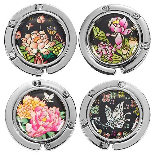 Juvale - Juego de 4 ganchos para bolso de mano, plegables, magnéticos, con acolchado de goma antideslizante, diseño de flores y mariposas