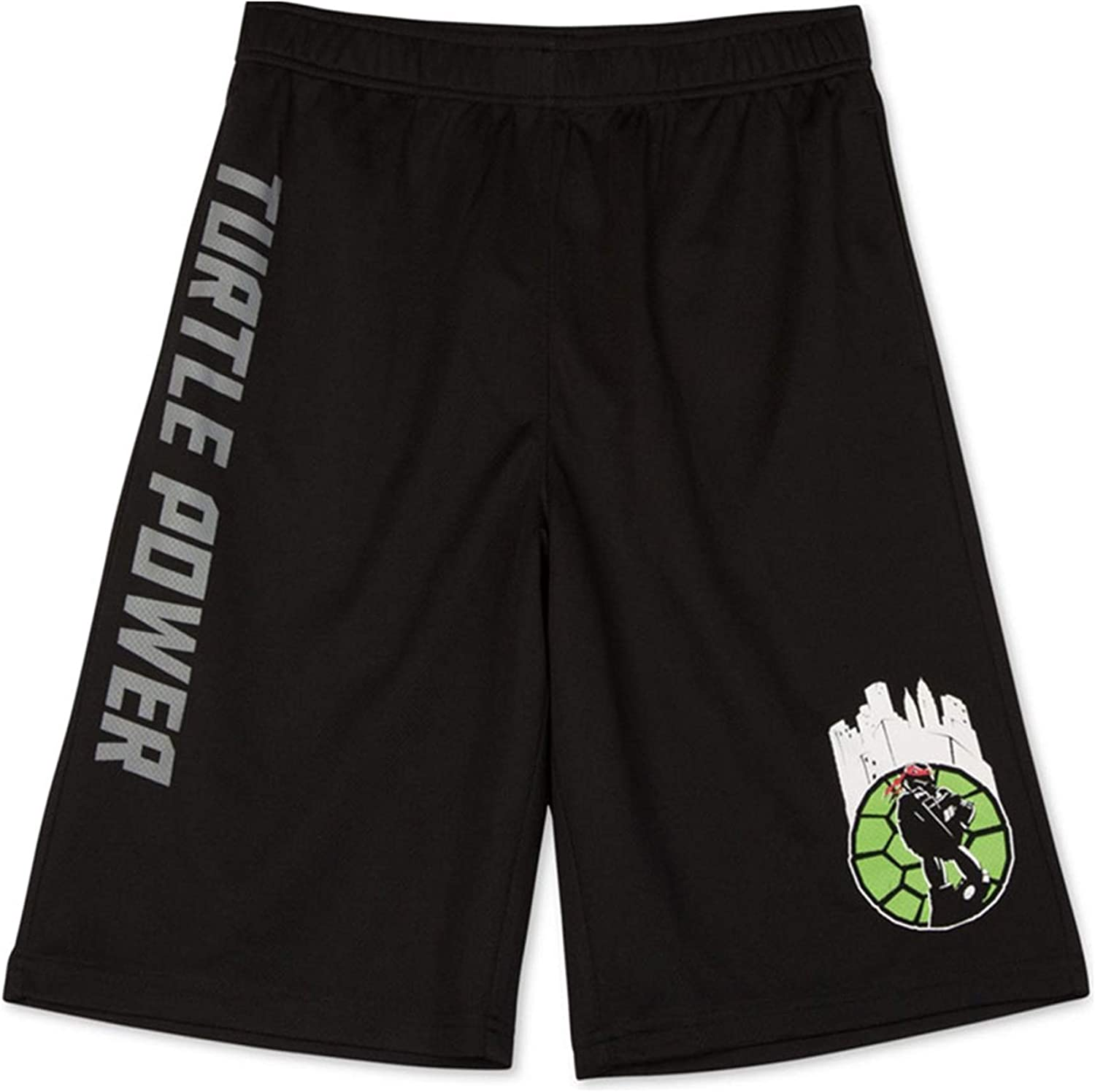 Nickelodeon Boys TMNT Turtle Power Athletic Workout Shorts, Black, M (12)