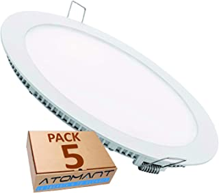 comprar comparacion Pack 5x Panel Downlight LED Redondo Plano, 18w. Color Blanco Frio (6500K). 1600 Lumenes. Driver incluido. A++