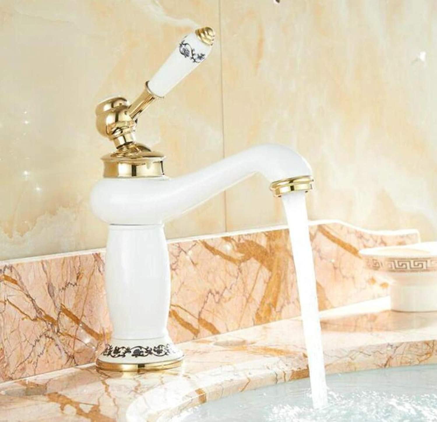 Bathroom Faucet Basin Faucet White Painted Finish Brass Mixer Tap Faucet Hot and Cold Water Taps