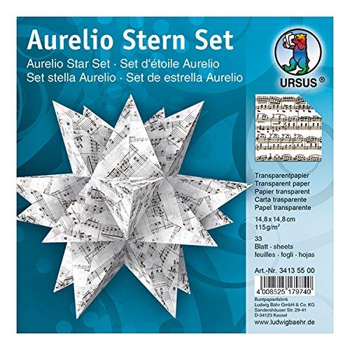 Ursus 34135500 - Faltblätter Aurelio Stern Noten, schwarz, 33 Blatt, aus Transpatentpapier 115 g/qm, ca. 14,8 x 14,8 cm, einseitig bedruckt, ideal als Weihnachtsdeko
