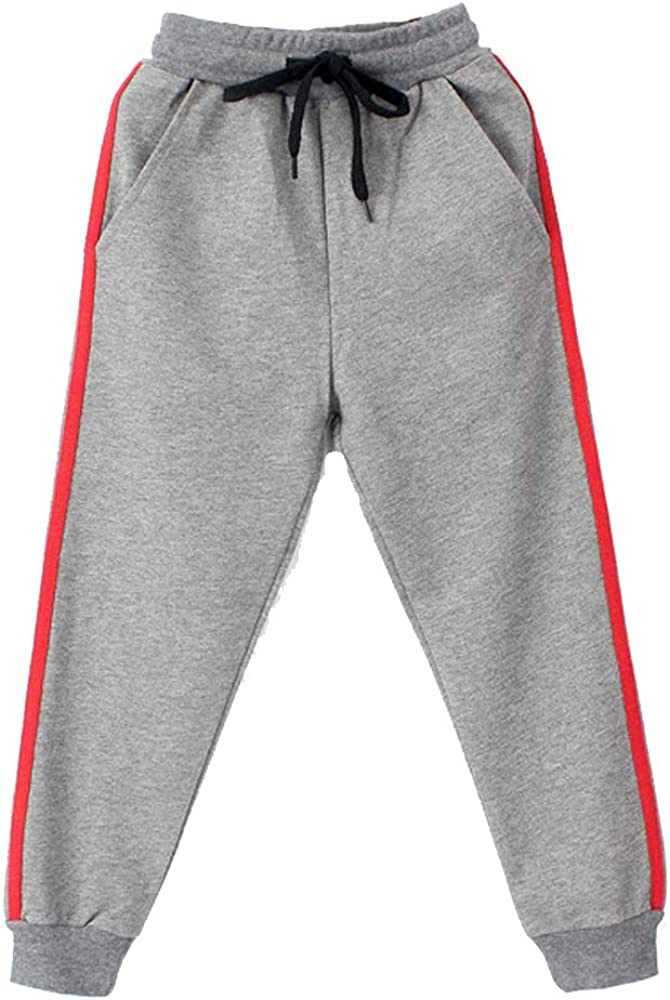 FLOWERKIDS Boys Jogger Pants Striped Cotton Sweatpants Adjustable Waist Trousers Age 5-14 Years