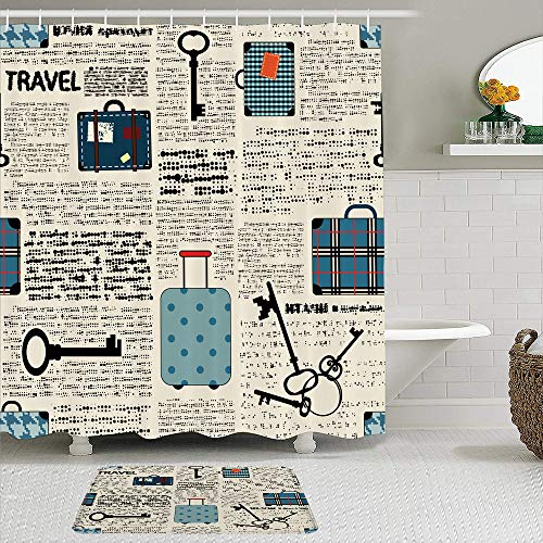 SHENGLIPINK Fabric Shower Curtain and Mats Set,Retro Style Travel Vacation Theme Vintage Suitcases Keys Dot Text,Waterproof Bath Curtains with 12 Hooks,Non Slip Rugs