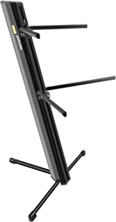 Neewer Keyboard Stand, Solid Aluminum-Alloy Construction, 2-Tier Column Design with Boom Pocket and 2-bar Arms, Tripod Base for Electronic Keyboard (Black)