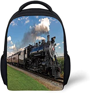 Kids School Backpack Steam Engine,Vintage Locomotive in Countryside Scenery Green Grass Puff Train Picture,Blue Green Black Plain Bookbag Travel Daypack