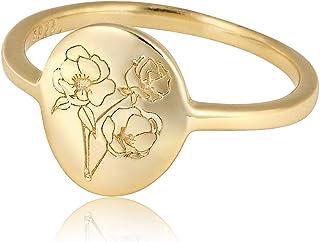 Handmade Flower Signet Ring -18K Gold Over 925 Sterling...