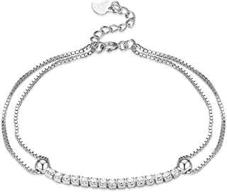 Peora Silver Rhodium Plated CZ Double Chain Star Bracelet with Extender Link for Women Girls