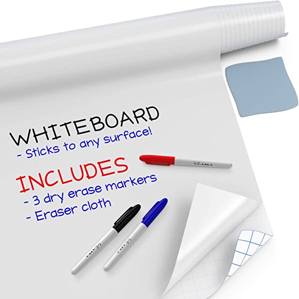 Kassa Large Whiteboard Wall Sticker Roll 17 3 X 78 6 5 Feet 3 Dry Erase Board Markers Included Adhesive White Board Wallpaper For Fridge Office Kids Room Peel And Stick Paper Decal