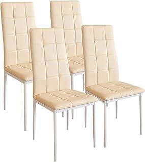 Albatros Silla Rimini Set de 4 sillas Beige certificada por la SGS Silla de Comedor