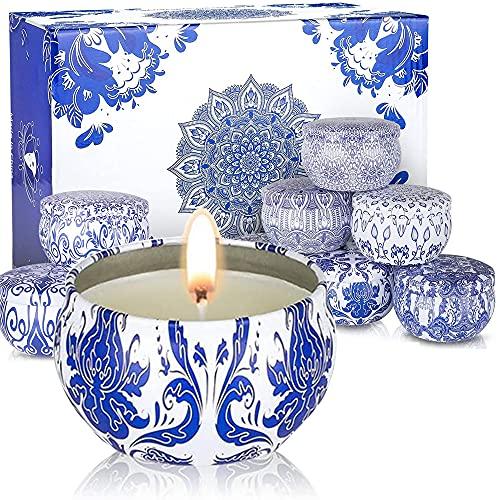 NC Juego de 12 velas perfumadas de citronela, cera de soja para aromaterapia, para interiores y exteriores, camping, para reuniones de amigos, festivales, cumpleaños, bodas, barras (varios patrones)