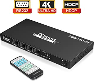 TESmart HDMI Matrix 4x4 Latest Updated 4k@30Hz Powered 4 in 4 Out HDMI Switch Supports PCM, Dolby AC3, DTS5.1, DTS7.1 and DSD 4x4 HDMI Matrix Compliant with HDCP 1.4 (Black)