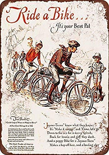 Unique Wall Decor Metal Poster Wall Plaque 12x16Inch,Ride a Bike,It's Your Best Pal,Metal Signs Tin Plaque Wall for Garage Man Cave Cafe Bar Pub Patio Home Decoration