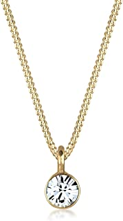 Elli Damen Halskette mit Basic Solitär Anhänger Swarovski Kristalle in 925 Sterling Silber 45 cm lang
