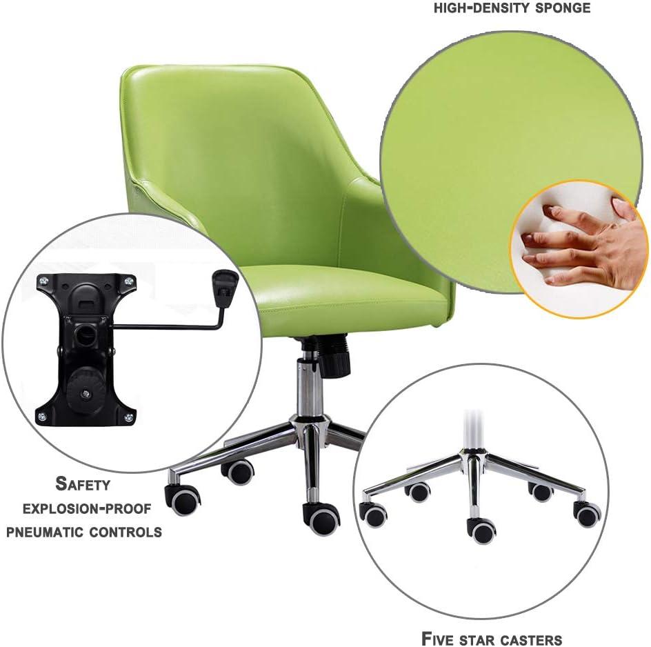 LXYu- Office Chair Chaise de Bureau pivotante mi-Dossier Hauteur réglable siège en Cuir PU Suppor Lombaire et Roulette muette Meubles de Maison/Bureau Green
