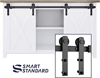 SMARTSTANDARD 5FT Mini Sliding Barn Door Hardware Kit, for Double Opening Cabinet TV Stand Closet, Black, One-Piece Track Rail, Easy to Install, Fit 20