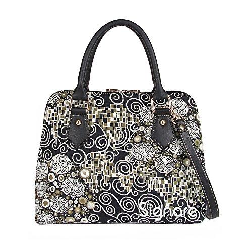 Mittelgroße Handtasche/-Schultertasche für Damen (Gustav Klimt) – im Gobelin Stil