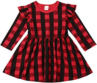 Toddler Baby Girls Red Plaid Dress Christmas Infant Ruffle Long Sleeve Skirt Outfits Kids Cotton Clothing