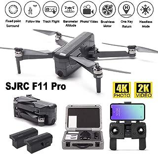 MOSTOP SJRC F11 Pro RC Drone 5G WiFi FPV GPS RC Drone Foldable 4K Photo 2K Video Camera App Control iOS Android One-Key RTH Follow Me 3D Visual Track Flight Headless (F11 Pro + 2 Battery+ Foam Box)