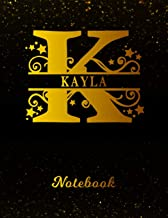 Kayla Notebook: Letter K Personalized First Name Personal Writing Notepad Journal   Black Gold Glittery Pattern Effect Cover   College Ruled Lined ... Taking   Write about your Life & Interests