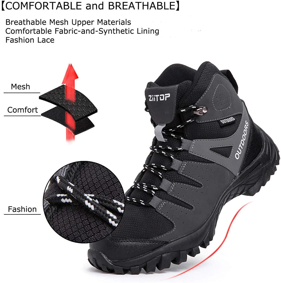 Mens Hiking Boots Breathable Lightweight Trekking Backpacking Mountaineering Boots High-Traction Grip Outdoors Hiker Boot for Men
