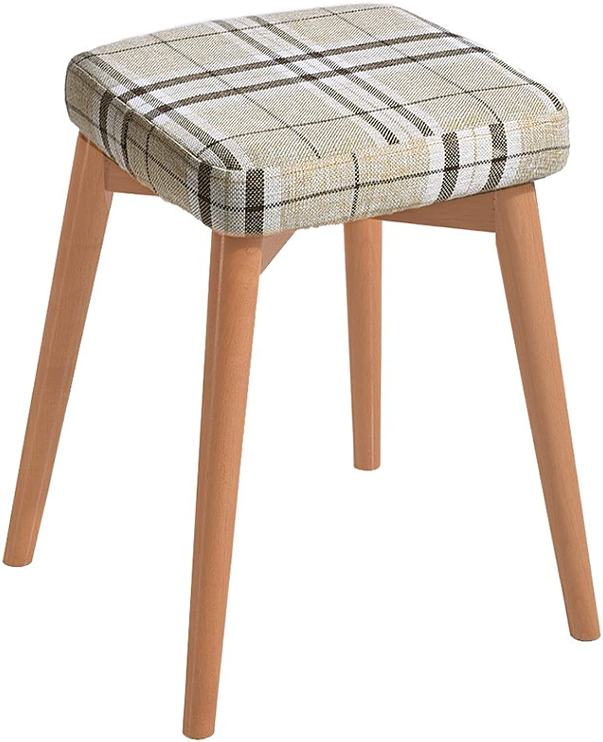 WENJUN Square Wooden Wood Support Upholstered Footstool Pouffe Chair Stool Fabric Cover 4 Legand Removable Linen Covers (color   3)