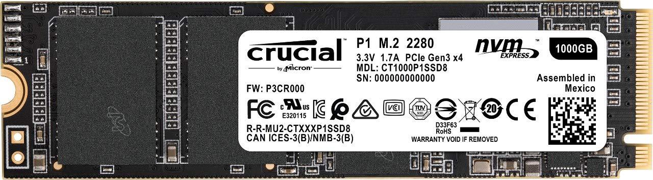 크루셜 .2 NVMe SSD - Crucial P1 3D NAND NVMe PCIe M.2 SSD - CT1000P1SSD8