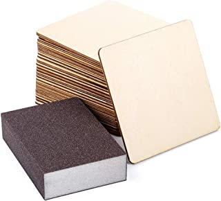 Caydo 24 Pieces 4 Inch Square Unfinished Blank Wood Squares Slices Unfinished Wood with Sanding Sponge for Pyrography, Painting, Writing, Drinks DIY Craft, Photo Props and Decoration