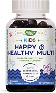Nature's Way Kids Happy & Healthy Multivitamin, Vitamin C, Zinc & Elderberry, 60 Gummies