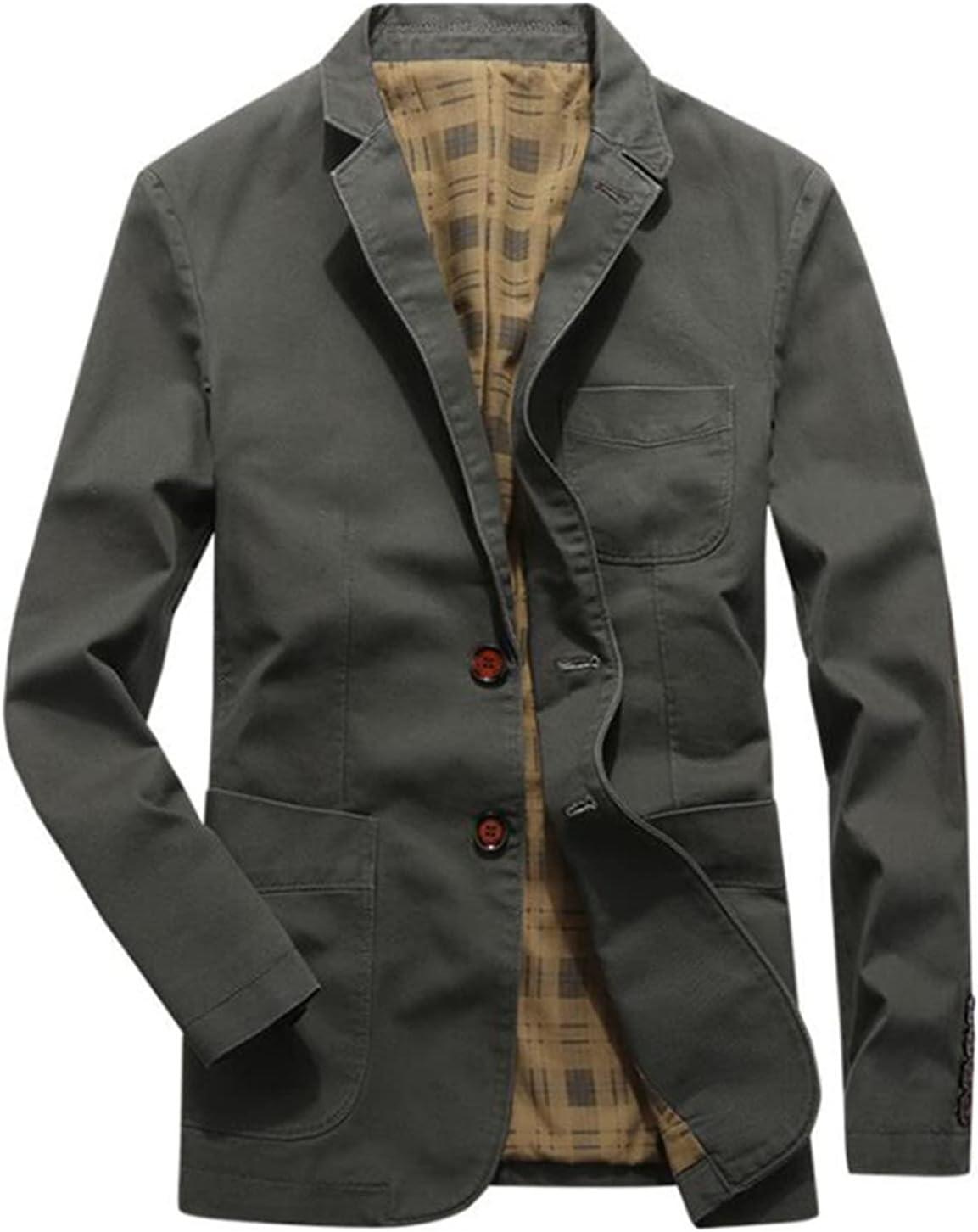 Blazer de estilo retro de la solapa de la muesca de los hombres, el ajuste casual delgado traje de la manga algodón 2-botón de blazer, chaqueta de blazer de solapa ligero delgado abrigo deportivo