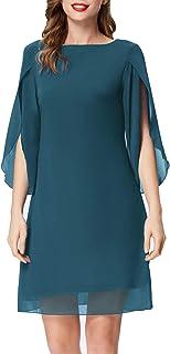 GRACE KARIN Damen Chiffon Sommer Kleid Kurzarm Loose Elegant Abend Cocktailkleid CL11125
