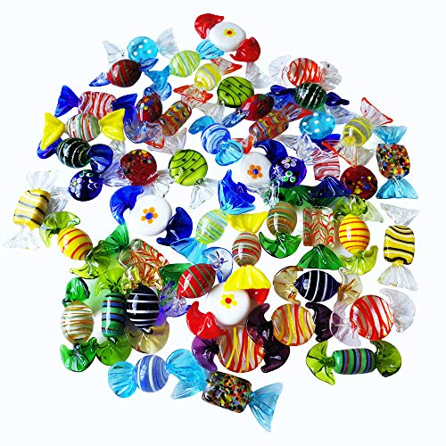 Sujeetec 24pcs Handmade Vintage Murano Style Various Glass Sweets Glass Candy Ornaments for Home Party Wedding Christmas Xmas Tree Festival Decorations Gift