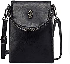 Women Girl PU Leather Skull Cellphone Pouch Mini Crossbody Shoulder Bag with Metal Chain Strap Black