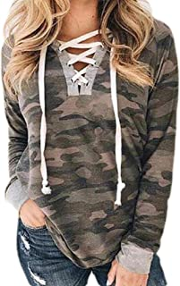 S-Fly Women's V-Neck Long Sleeve Lace Up Camouflage Sexy T Shirts