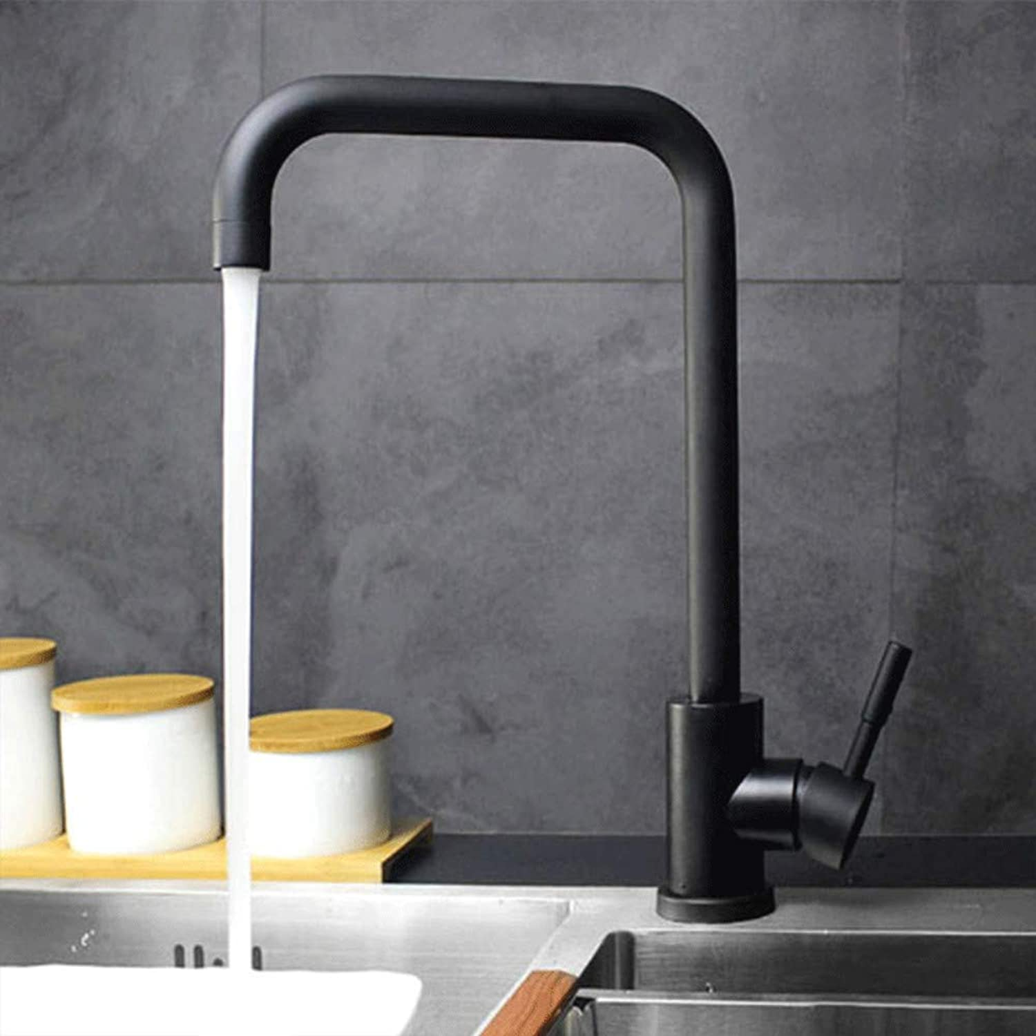 Hot and Cold Kitchen Faucet Stainless Steel Black Paint Sink Faucet Fast Open Big Water Sink Faucet