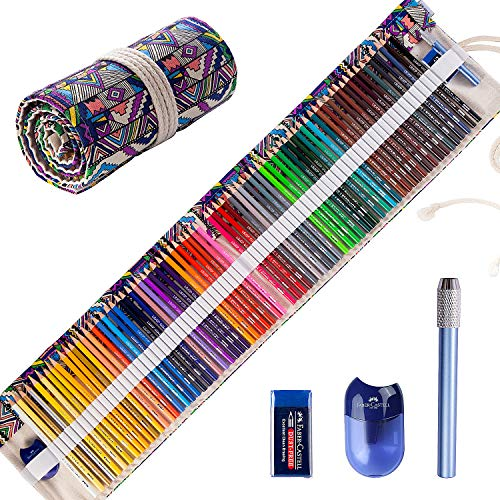 Colored Pencils Set for Adult Coloring Books (72-Count), New and Improved Premium Artist Pencils, Handmade Canvas Pencil Wrap, Extra Accessories, Holiday Gifts, Oil Based Colored Pencil