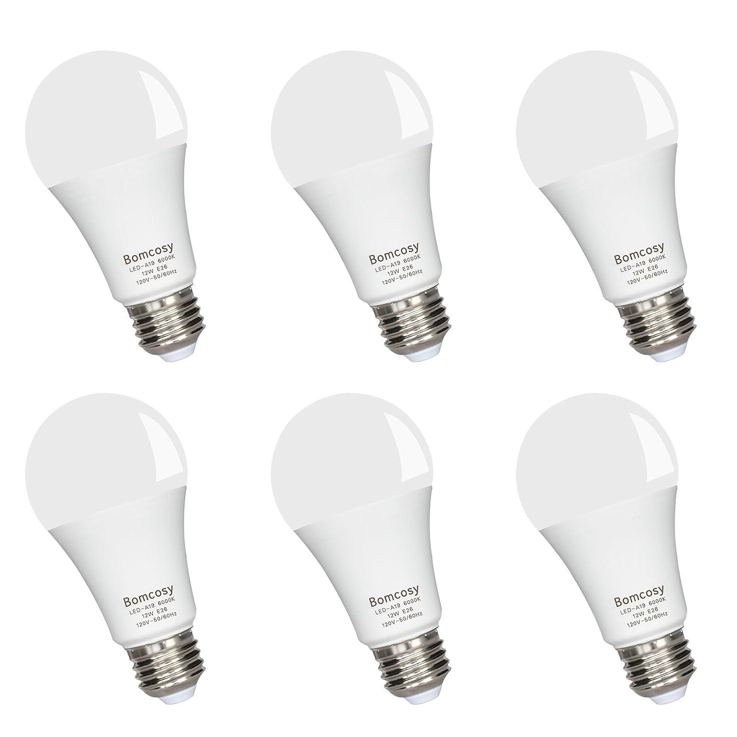不和バルブ装備するBomcosy LED電球 E26口金 100W形相当 1100lm 省エネ90% 昼光色相当(12W) 6000K 広配光タイプ 6個パック 2年間の保証があり