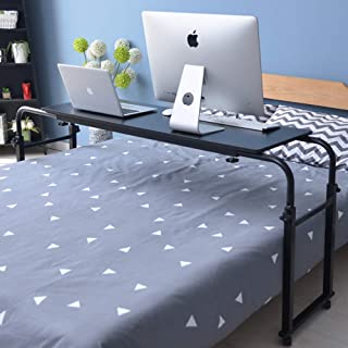 Overbed Table with Wheels Laptop Cart Desk Table Adjustable Over The Bed Table Computer Study Painting Desk for Home Nursing Hospital Table with Mobile Width and Height Bedside Table