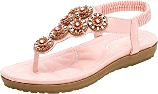 YLing Women's Flat Sandals, Comfy Crystal Slip On Summer Sandals Bohemian Beach Shoes
