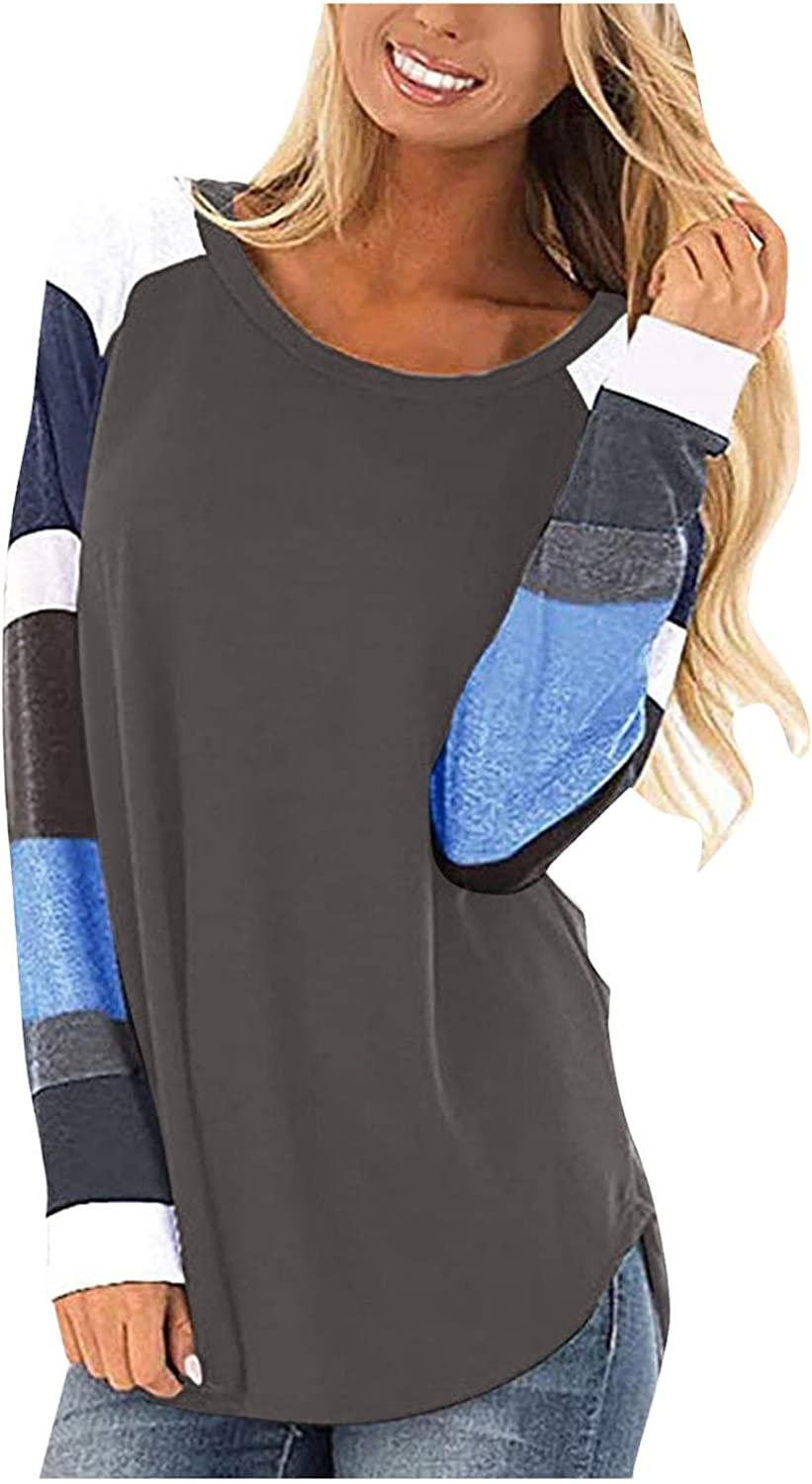Sweatshirts for Women Crewneck,Women Casual Long Sleeved T-Shirt O-Neck Patchwork Printed Loose Pullover Blouse Tops