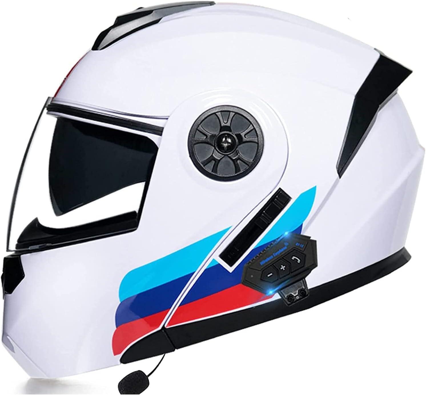 ZHANGYUEFEIFZ Bluetooth Casco Moto Modular Casco Integral con Doble Visera Casco Moto Mujer Adultos para Scooter Biker Mofa Crash Cruiser Chopper ECE Homologado (Color : #1, Size : 55-56(S))