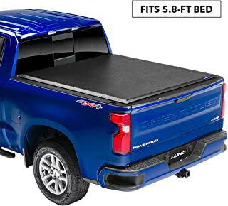 "Lund Genesis Roll Up Soft Roll Up Truck Bed Tonneau Cover | 96092 | Fits 2014-2018, 19 Legacy/Limited GMC Sierra & Chevrolet Silverado 1500   5' 8"" Bed"