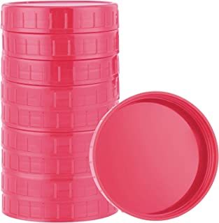 Actaday 10 Pcs Pink Plastic Mason Jar Lids Canning Jar Lids Leak-proof Storage Cap Compatible with Silicone Mason Jars, Ca...