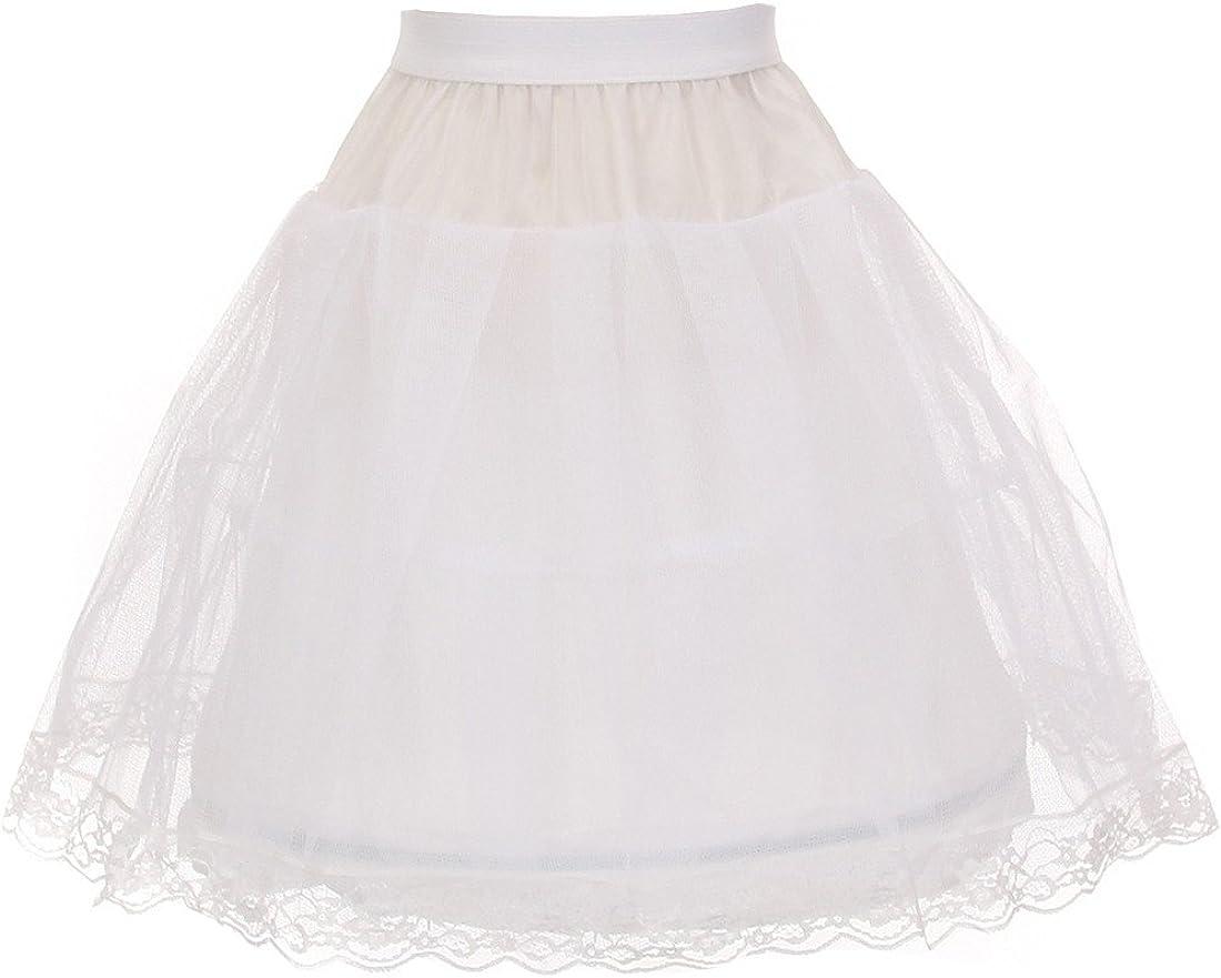 Kid's Dream Little Girls White One Wire Hoop Half Length Petticoat Slip