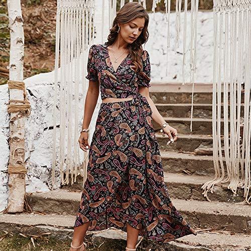 JIAGU V-Cuello de Las Mujeres Atractivas Falda de Flores Impreso Juego Ocasional de Verano Vestido de Mujer (Color : Black, Size : M)