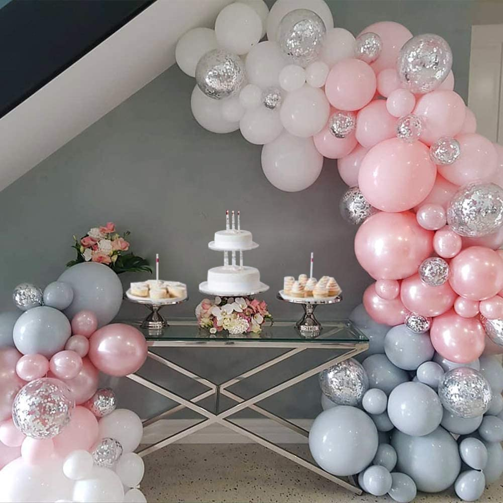 Pink Elephant Birthday Party Balloons Garland Arch Kit Baby Shower Backdrop  Winter Onderland Party Decorations Gray White Pink Shiny Silver Confetti ...