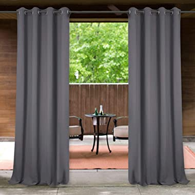 StangH Outdoor Curtains Grey, Patio Curtains Outdoor Waterproof Blackout Grommet Curtain Panels for Front Porch/Pergola/Cabana, 1 Panel, Wide 52 x Long 84 inches