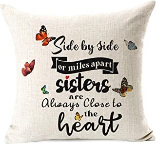963RW Best Sister Gifts for Sister, Side by Side or Miles Apart Sisters are Always Close to The Heart Quotes Throw Pillow ...