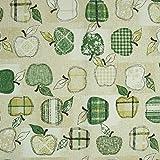 Dekostoff Äpfel grün beige Canvas - Preis gilt für 0,5
